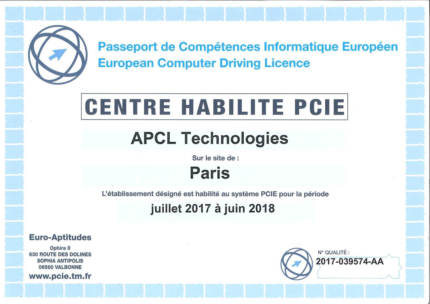 certificat PCIE 2017