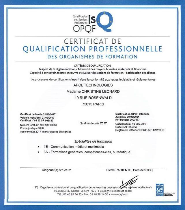 certification OPQF